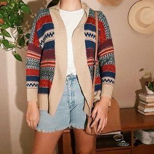 Warm Earth Tone Patterned Cardigan